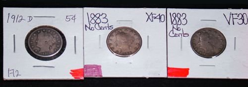 402: 3 V NICKELS 1883, 1883, 1912, ALL IN EXTRA FINE CO
