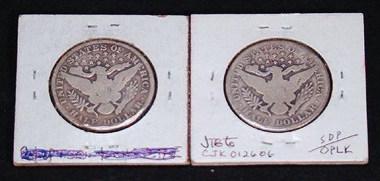 403: 2 BARBER HALF DOLLARS IN GOOD CONDITION, 1902, 190