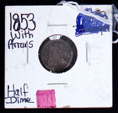407: 1853 HALF DIME WITH ARROWS, GOOD CONDITION