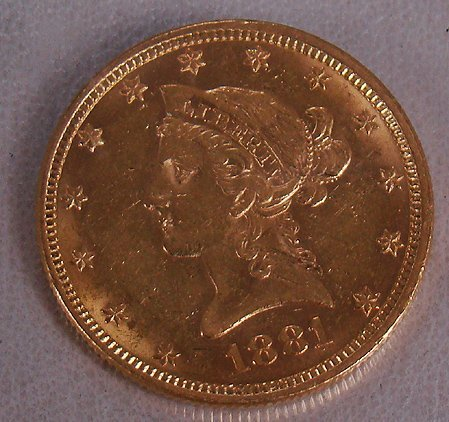 424: 1881 10 DOLLAR GOLD  LIBERTY COIN