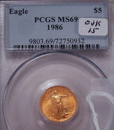 410: 1986 FIVE DOLLAR GOLD EAGLE COIN
