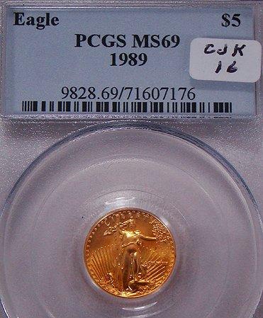 411: 1889 FIVE DOLLAR EAGLE COIN