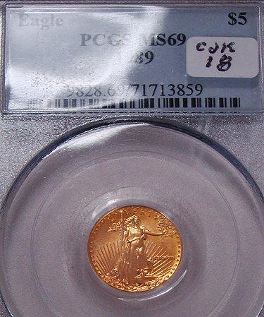 413: 1889 FIVE DOLLAR GOLD  EAGLE COIN