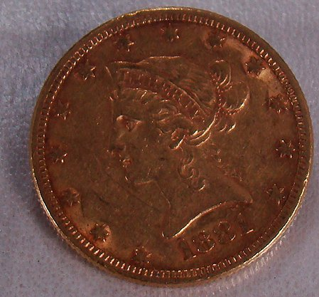 422: 1881 TEN DOLLAR GOLD LIBERTY COIN