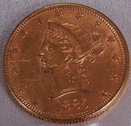 420: 1885 TEN DOLLAR GOLD LIBERTY COIN