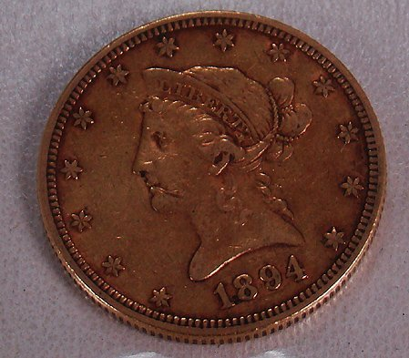 419: 1894 TEN DOLLAR GOLD LIBERTY COIN