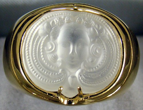 2: LALIQUE PORTRAIT RING WITH BOX