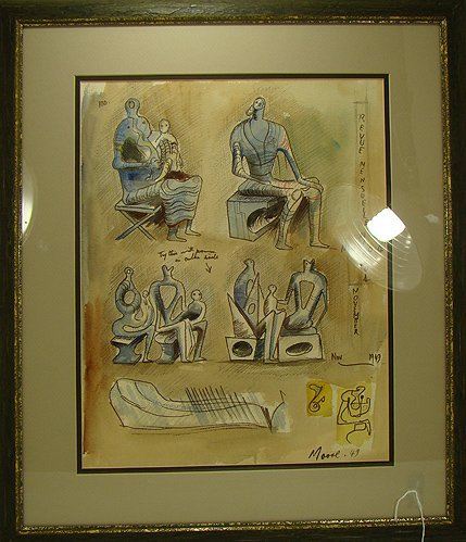 842: HENRY MOORE WATER COLOR STUDY