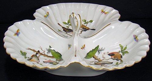 1218: LARGE HEREND ROTHSCHILD BIRD 3 PART SERVER