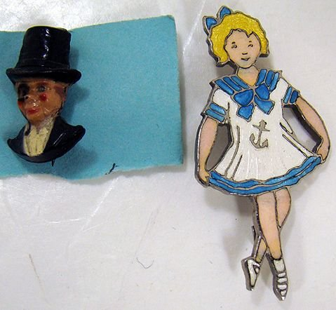1213: SHIRLEY TEMPLE AND CHARLIE McCARTHY PINS
