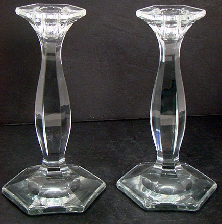 1224: PAIR OF SIGNED HEISEY CANDLESTICKS