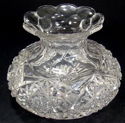 1222: BRILLIANT AMERICAN CUT GLASS FLOWER CENTER