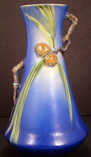 9: ROSEVILLE 12 INCH BLUE PINE CONE VASE