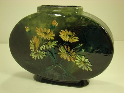 8: RARE WHEATLEYPOTTERY PILLOW VASE HAND DECORATED