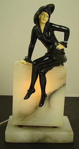 617: ART DECO FIGURAL MARBLE LAMP
