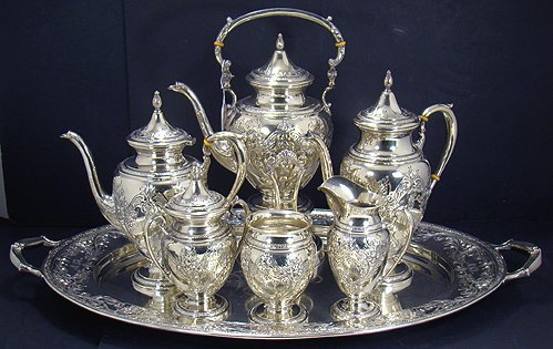 406: STUNNING ELLMORE STERLING SILVER TEA SET-7 PIECES