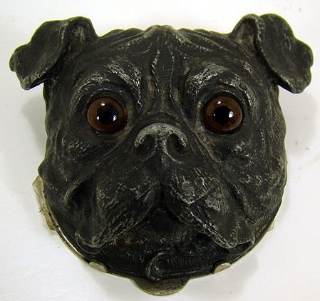405C: VINTAGE STAMP BOX BULL DOG WITH GLASS EYES