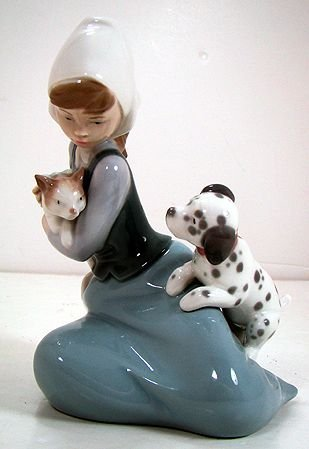 809: LLADRO DOG AND CAT 5032 EXCELLENT CONDITION NO BOX