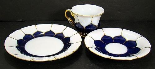 823: MEISSEN COBALT BLUE 3 PIECE SET CUP SAUCER PLATE