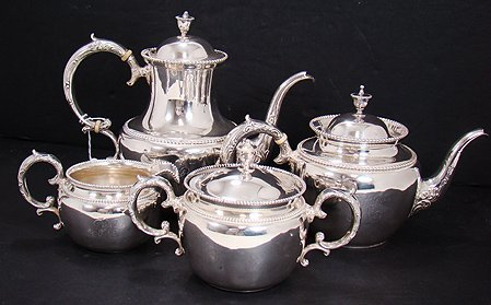 818: VINTAGE STERLING SILVER ENGLISH 4 PIECE TEA SET