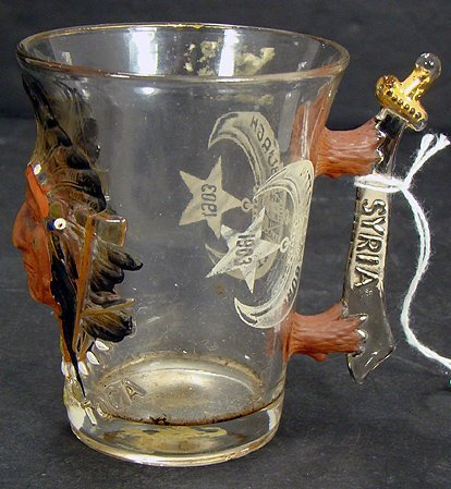 817: RARE MASONIC TURN OF CENT. BLOWN OUT GLASS INDIAN