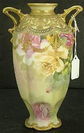 1360: JEWELED NIPPON VASE WITH ROSES