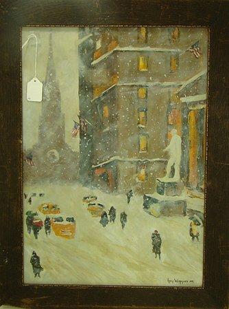 1254: GUY WIGGINS WATERCOLOR-WINTER SCENE