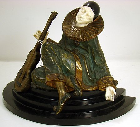 1A: COLD PAINTED BRONZE AND IVORY FIGURE-A. GILBERT