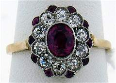 69 PLATINUM18KY RUBY AND DIAMOND VICTORIAN RING