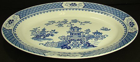 323: LARGE ANTIQUE IRONSTONE PAGODA PLATTER
