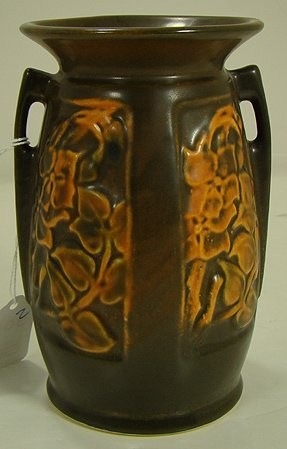 306: ROSEVILLE RARE PANEL VASE WITH FLORAL DESIGN