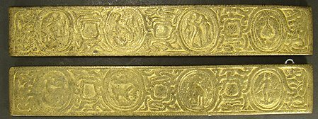 613: TIFFANY ZODIAC GILT BRONZE BLOTTER ENDS