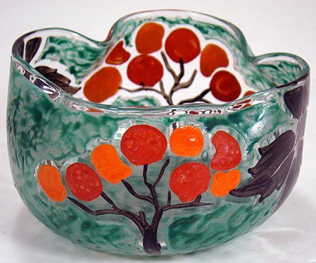 616: LEGRAS ENAMELED ROSE BOWL