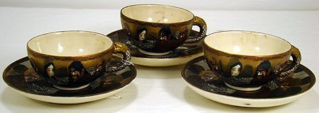 618: SET OF SATSUMA CUPS AND SAUCERS