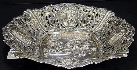 619: LARGE RETICULATED STERLING FIGURAL FRUIT BOWL