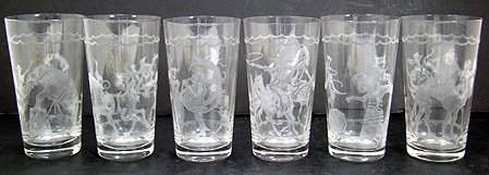620: RARE HEISEY TUMBLERS WITH CIRCUS SCENES