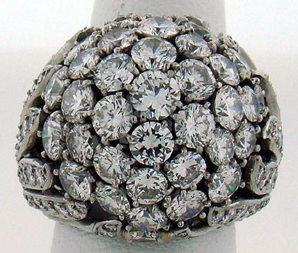 624: PLATINUM 8.00CT DIAMOND DOME RING