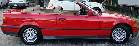 1241: 1995 BMW  RED CONVERTIBLE 3 SERIES