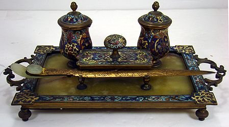 1219: CHAMPLEVE ENAMEL AND ONYX INKWELL SET