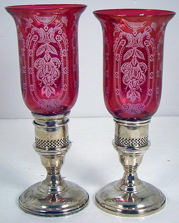 1221: PAIR OF VINTAGE RUBY ETCHED STERLING HURRICANES