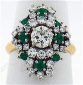 1270A 18KT YG VINTAGE 250CT DIAMOND AND EMERALD RING