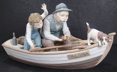 919: LLADRO LARGE FISHING WITH GRAMPS 5215 MINT IN BOX