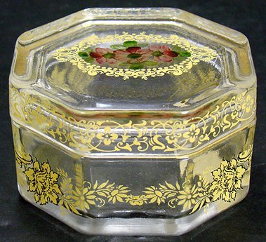24: ANTIQUE ITALIAN HAND PAINTED GLASS DRESSER BOX
