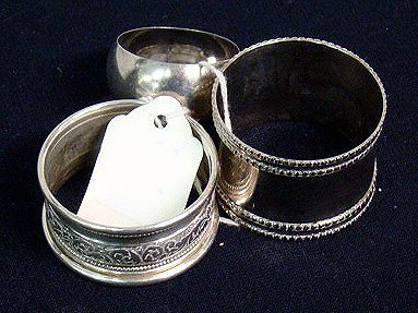 11: THREE STERLING SILVER VINTAGE NAPKIN RINGS