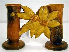 2: ROSEVILLE CLEMATIS DOUBLE BUD VASE