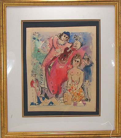 340: SIGNED MARC CHAGALL WATERCOLOR