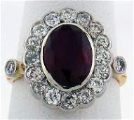 357 18KT YG VICTORIAN RUBY AND DIAMOND RING 400CT