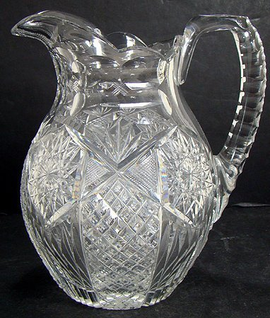 325: SIGNED LIBBEY BRILLIANT CUT GLASS WATER JUG