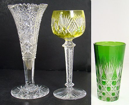 320: LOT OF 3 COLORED AND CLEAR CUT GLASS ITEMS