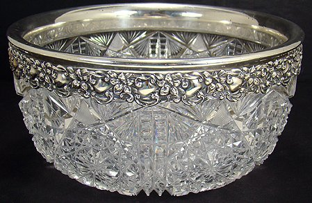92: STUNNING CUT GLASS AND STERLING SILVER BOWL